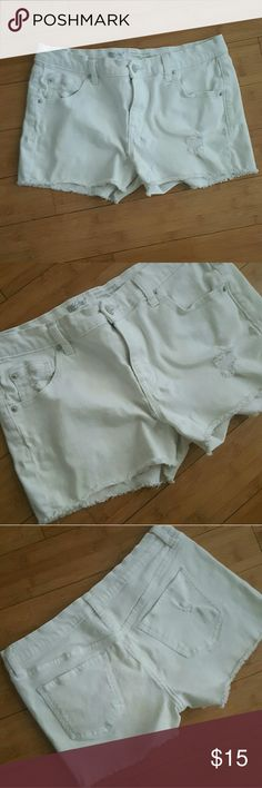Mossimo distressed boyfriend shorts Worn a handful of times, in good condition! These shorts are true white and have distressing on the front and back. Leg opening is meant to be frayed. TTS 8, with some stretch. Mossimo Supply Co Shorts Jean Shorts