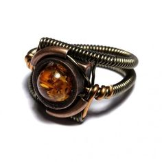 Steampunk Jewelry - Ring - Amber