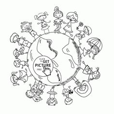 Happy Kids On Earth Day Coloring Page For Pages Printables Free