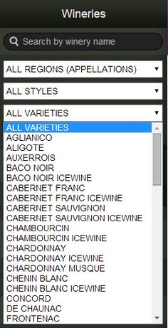 Wine ON Tour allows you to search for what Ontario wineries produce your favourite varietal of wine. Everything from Aglianico to Zweigeltrebe