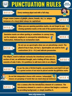 Punctuation Rules: 9 Important Rules You Must Know - ESL Grammar Essay Writing Skills, Book Writing Tips, English Writing Skills, Writing Words, Teaching Writing, English Lessons, Learn English, Writing Programs, Writing Lessons