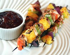 """Pork Kabobs On the Grill Recipes   ... page, color photo of """"Grilled Chinese Sweet and Sour Pork Kabobs"""
