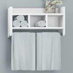 Enhance your bathroom by adding this wood bath storage shelf with built-in towel rod. This storage shelf has three cubbies and a shelf for convenience, and its small compact size makes for an easy fit. Bathroom Towel Storage, Diy Bathroom Decor, Bathroom Towels, Bathroom Shelves, Bathroom Wall, Wall Shelves, Bathroom Organization, Bathroom Ideas, Towel Shelf