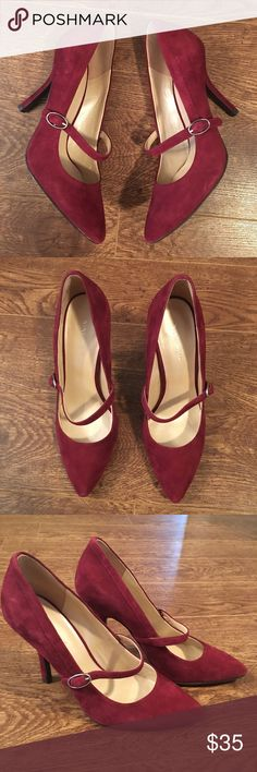 Nine West Red Suede Heels NWOT red shade heels with a strap by Nine West. Add a pop of color to your outfit! Nine West Shoes Heels
