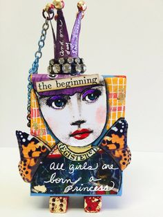 Mixed Media ARTIST TRADING Block ATB Princess Queen by IMGirl