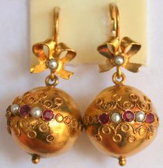 RARE ANTIQUE VICTORIAN 18K GOLD RUBY PEARL BIG 16mm BALL BOW FINE EARRINGS 1880
