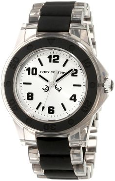 Juicy Couture Women's 1900870 Rich Girl Clear Plastic Bracelet With Black Silicone Inlay Watch >>> See this great image  (This is an amazon affiliate link. I may earn commission from it)