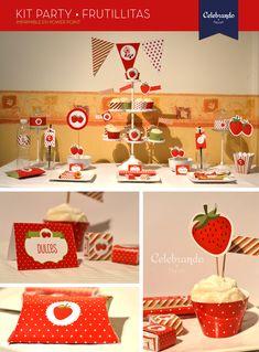 Kit imprimible Frutillitas - Printable Strawberry - Celebrando Fiestas