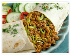 THAI-PORK BURRITOS~~One of our favorite recipes using ground pork.easy and delicious! Use whole wheat tortillas. Pork Recipes, Asian Recipes, Mexican Food Recipes, Dinner Recipes, Cooking Recipes, Yummy Recipes, Dinner Ideas, Burrito Recipes, Mexican Cooking