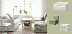 SANDBY two-seat sofa with Blekinge white cover and armchairs with Blekinge green cover