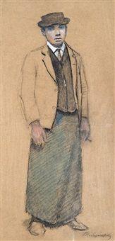 Standing man by László Mednyánszky