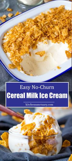 How to make no-churn cereal milk ice cream. This is the sweetest, crunchiest, creamy ice cream. No ice cream maker needed. A fantastic treat for a hot day! Ice Cream Desserts, Frozen Desserts, Ice Cream Recipes, Easy Desserts, Delicious Desserts, Dessert Recipes, Frozen Treats, Milk Ice Cream, Yummy Ice Cream