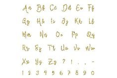 Gold alphabet isolated by Sunshine Art Shop on Cursive Fonts, Text Fonts, Typography Fonts, Lettering, Cute Fonts, Pretty Fonts, Beautiful Fonts, Abc Poster, Creative Sketches