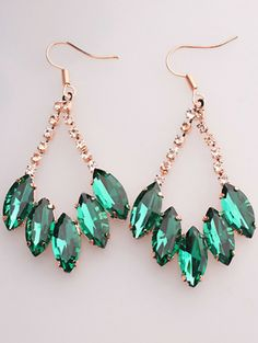 Green Gemstone Gold Dangle Earrings pictures