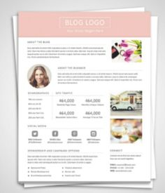 Blog Media Kit Template   Press Kit  Pitch Kit  Word Blog