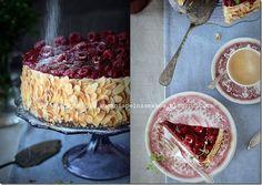 Raspberry and mascarpone walnut layer cake