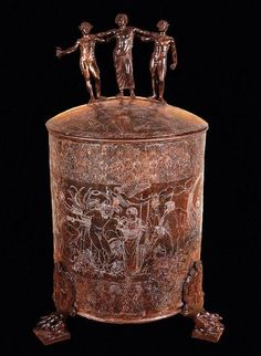 Etruscan engraved bronze cistra or container woman's toiletry articles and engraved it with the Etruscan myth of thr search for the Golden Fleece. C.500BC Etruscan museum of Villa Giulia, Rome