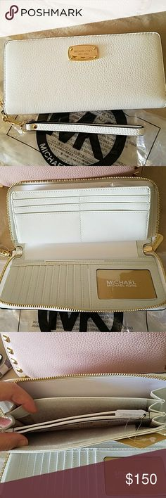 Brand New MK Jet Set Wallet/wristlet Optic White & Gold Travel Continental Leather Michael Kors Bags