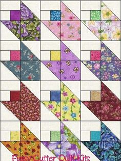 Scrappy Calico Floral Fabric Tulip Flower Bud Easy Pre-Cut Quilt Blocks Top Kit