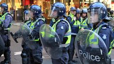 A heavy police presence is visible ahead of an anti-Islam protesters rally in Melbourne.