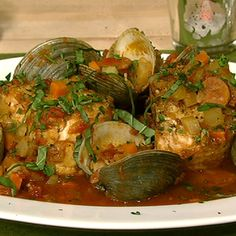 Michael Symon's Braised Swordfish With Chorizo And Clams.  I was drooling watching this on The Chew yesterday.