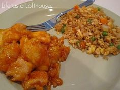 baked sweet & sour chicken and fried rice