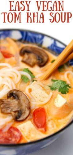 Easy Vegan Soup, Easy Vegan Dinner, Vegan Dinner Recipes, Vegan Recipes Easy, Asian Recipes, Thai Recipes, Soup Recipes, Vegetarian Dinners, Vegetarian Recipes
