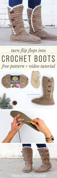 Learn how to make UGG-style crochet boots with flip flop soles in Part 1 of this free crochet pattern and video tutorial. Excellent slippers or shoes! Sie Hausschuhe Flip Flop Crochet Boots With Flip Flop Soles - Free Pattern + Video Crochet Slipper Boots, Diy Crochet Slippers, Felted Slippers, Knitting Patterns, Crochet Patterns, Crochet Ideas, Sewing Stitches, Crochet Gratis, Love Crochet