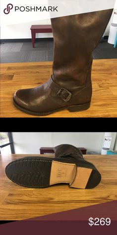 Frye Veronica Slouch Boots Veronica slouch Boots dark brown shine vintage leather. No its original box Frye Shoes Combat & Moto Boots