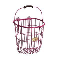 Nantucket Bicycle Basket Co. Surfside Rear Pannier Basket & Hooks, Pink