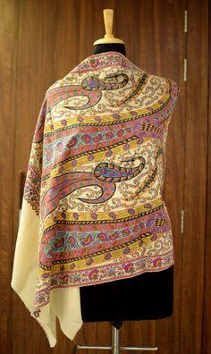 Pure Pashmina Scarf Shawl, Hand Embroidery, Pure Cashmere Scarf, Stole,  Wrap, Scarf, Kalamkari, Kashmiri Work, Sozni Work, Shawl, Hand Paint 943f1761bdf