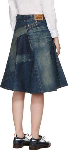 Junya Watanabe - Indigo Denim Patchwork Skirt More