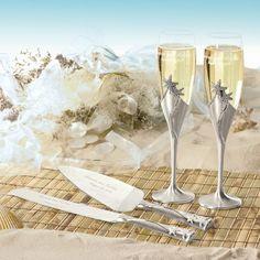silver star fish champainge glasses | ... Toasting Flutes & Serving Sets • Toasting Flutes • Starfish