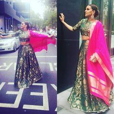 "Shades Of Wedding on Instagram: ""#bestoftheday @nehadhupia in @payalsinghal outfit Jewels- @anmoljewellers #shadesofwedding #weddingblog #weddingfashion #weddindiaries #weddinginspiration #sisterofthebride #sisterofthegroom #couturefashion #indiancouture #essentials #inspiration #trousseau #tagforlikes #photography #allthingsbridal #allaboutwedding #style #fashion #handloom #banarsi #makeinindia #lookbook #getinspired #shadesofgreen #shadesofpink #fashion2016 #brocade"""