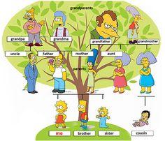 Divertido árbol genealógico de los Simpson. Para estudiantes de español, nivel principiante.
