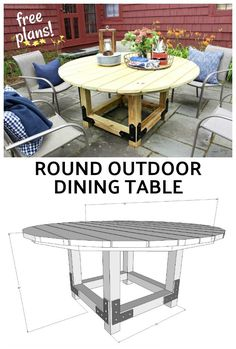 Build your own round outdoor dining table using Simpson Strong-Tie outdoor accents. Make this solid round outdoor table for your patio space. - Patio Table - Ideas of Patio Table Round Garden Table, Round Outdoor Dining Table, Diy Outdoor Table, Diy Dining Table, Diy Patio, Outdoor Decor, Patio Dining, Used Outdoor Furniture, Wooden Furniture