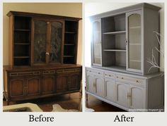 Furniture Makeovers: The Power of Paint - Removing dated glass panels and painting it in a sophisticated color changed this cabinet's entire personality. More photos and details here.