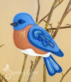 Sewing Machine Tutorial Bluebird Sewing Pattern PDF - Backyard Bird Stuffed Ornament - Felt Plushie - Benson the Bluebird - - Plushie Patterns, Felt Patterns, Bird Patterns, Sewing Patterns, Embroidery Patterns, Felt Ornaments Patterns, Embroidery Stitches, Bird Ornaments, Felt Christmas Ornaments