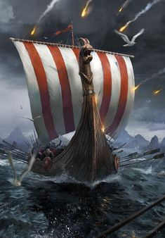An Craite Longship - Witcher 3 Wild Hunt / Gwent Card Viking Power, Viking Warrior, Viking Woman, Viking Longship, Wallpaper For Sale, Wall Wallpaper, Nordic Vikings, 3d Wall Murals, Nordic Tattoo