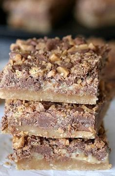 Shortbread Toffee Cookie Bars: Shortbread Crust - 3/4 cup butter, room temperature, 3/4 cup light brown sugar, 1 1/2 cups flour; Filling - 1 cup sweetened condensed milk, 2 Tbsp butter; Topping - 2 cups milk chocolate chips, 1 1/2 cups Toffee Bits