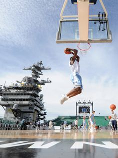 Harrison Barnes of the North Carolina Tar Heels goes in for a dunk in practice during the Quicken Loans Carrier Classic on board the USS Carl Vinson on November 11, 2011 in Coronado, California. The Tar Heels play the Michigan State Spartans aboard the U.S. Navy aircraft carrier Friday night.