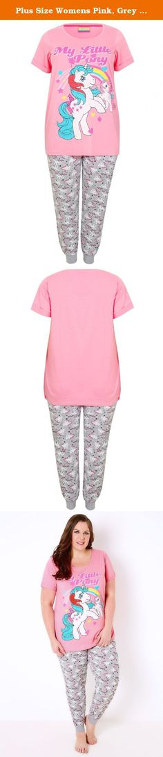 Plus Size Womens Pink, Grey & Multi My Little Pony Top & Bottoms Pyjama Set Size 16-18 Pink. Plus size pink, grey and multi My Little Pony printed top and bottoms pyjama set. Top features a scoop neckline and short turned up sleeves. Bottoms are jogger style with elasticated drawstring waist and cuffs. Snuggle up in these cosy pyjamas during the winter months.