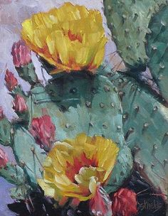 cactus and blossoms Cactus Drawing, Cactus Painting, Watercolor Cactus, Cactus Art, Cactus Flower, Flower Art, Watercolor Art, Oil Painting Flowers, Art Floral
