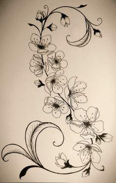 Tattoovorlage Blumenranken stilvoller Look - Tattoo, Tattoo ideas, Tattoo shops, Tattoo actor, Tattoo art Tattoo template flower tendrils stylish look Cage Tattoos, Body Art Tattoos, Mini Tattoos, Tatoos, Flower Vine Tattoos, Tattoo Templates, Blossom Tattoo, Flowering Vines, Tattoo Shop