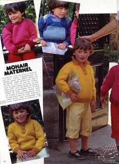 """100 idées n° 95 - septembre 1981 - article """"mohair éternel"""" (réalisation Isabelle Garçon, ouvrages Catherine de Chabaneix, photos Jérôme Tisné) - pulls enfants pour la rentrée (en tailles 4, 6 et 8 ans)."""