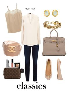 """""""Classic Neutrals"""" by southernpearlgir ❤ liked on Polyvore featuring Haute Hippie, Citizens of Humanity, Hermès, Joseph, J.Crew, Julie Vos, Chanel, Salvatore Ferragamo, Bobbi Brown Cosmetics and Louis Vuitton"""