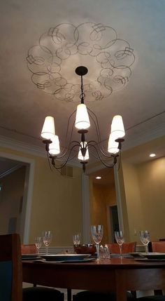 Simple Ceiling Medallion Design Using Modello Vinyl Decorative Paint Stencils