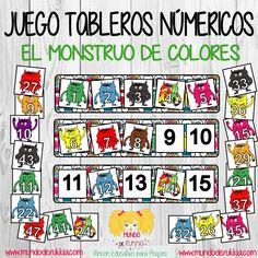 monstruo de colores, monstruo de colores actividades, monstruo de colores juego, monstruo de colores manualidad, ficha matematicas, aprender numeros, ficha numeros, juego numeros, the color monster, the color monster game, the color monster printables, the color monster crafts,