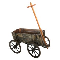 Antique Childs Wagon with Steel Wheels | From a unique collection of antique and modern toys at https://www.1stdibs.com/furniture/folk-art/toys/