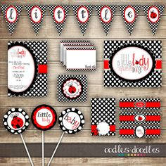 Ladybug Baby Shower PARTY PACKAGE / Baby Girl Shower / por OandD